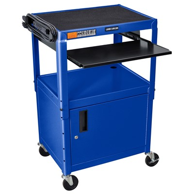 "Luxor/H Wilson AVJ42KBC-RB - Adjustable Steel A/V Cart w/Cabinet & Pullout - 18"" x 24"" x 24""-42"" - Royal Blue"