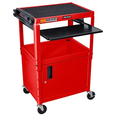 "Luxor/H Wilson AVJ42KBC-RD - Adjustable Steel A/V Cart w/Cabinet & Pullout - 18"" x 24"" x 24""-42"" - Red"