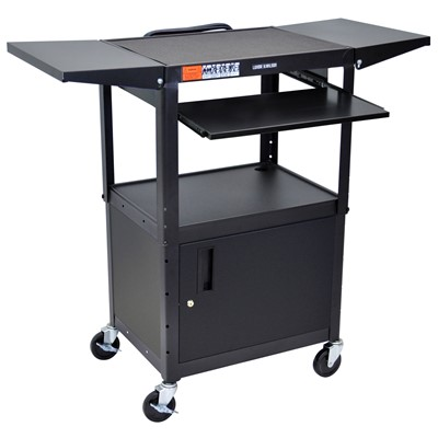 "Luxor/H Wilson AVJ42KBCDL - Adjustable Height Steel A/V Cart w/Pullout/Cabinet & Drop Leafs - 18"" x 24"" x 24""-42"" - Black"