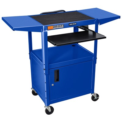 "Luxor/H Wilson AVJ42KBCDL-RB - Adjustable Height Steel A/V Cart w/Pullout/Cabinet & Drop Leafs - 18"" x 24"" x 24""-42"" - Royal Blue"