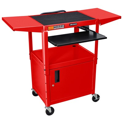 "Luxor/H Wilson AVJ42KBCDL-RD - Adjustable Height Steel A/V Cart w/Pullout/Cabinet & Drop Leafs - 18"" x 24"" x 24""-42"" - Red"