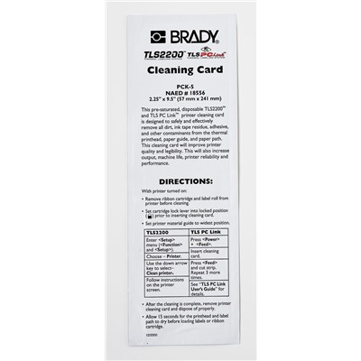 Brady PCK-5 - Cleaning Kit for TLS 2200® - 5 Cleaning Cards