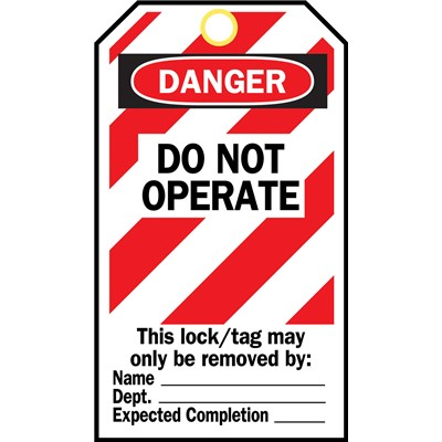"Brady 65453 - Cardstock Lockout Tags - 5.75 ""H x 3"" W - DO NOT OPERATE - English/Spanish"
