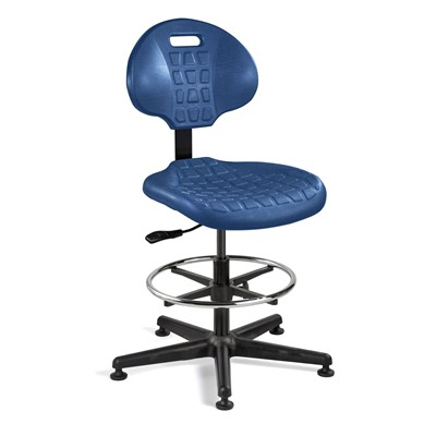 "Bevco 7500-BL - Everlast 7000 Series Ergonomic Chair - Polyurethane - 21""-31"" - Mushroom Glides - Blue"