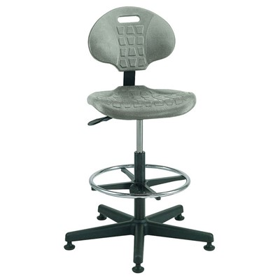"Bevco 7500-GY - Everlast 7000 Series Ergonomic Chair - Polyurethane - 21""-31"" - Mushroom Glides - Gray"