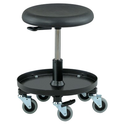 "Bevco 3057-BK - 3000 Series Backless Maintenance/Repair Stool - Polyurethane - 15.5""-20.5"" - 3"" Casters - 16"" Dia. Plastic Storage Tray - Black"
