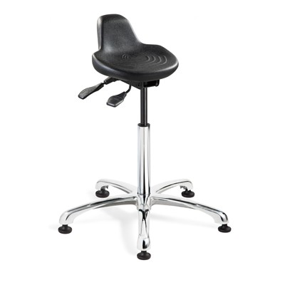 "Bevco 3555-BK - 3000 Series Backless Sit-Stand Stool - Polyurethane - 22""-32"" - Mushroom Glides - Black"