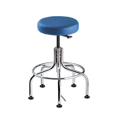"Bevco 3210E-V-BL - Versa-E 3000 Series Backless ESD-Safe Static Control Stool - Vinyl - 19""-24"" - ESD Mushroom Glides - Blue"
