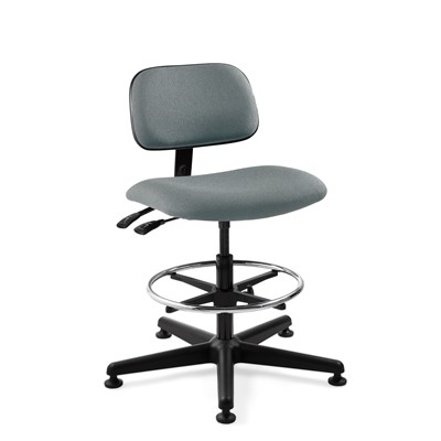"Bevco 4301-GY - Westmound 4000 Series Ergonomic Pneumatic Chair w/Articulating Tilt Seat & Back - Fabric - 19.5""-27"" - Mushroom Glides - Gray"