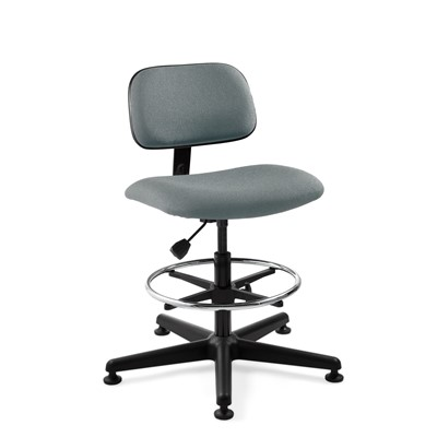 "Bevco 4500-GY - Westmound 4000 Series Ergonomic Pneumatic Chair - Fabric - 22.5""-32.5"" - Mushroom Glides - Gray"
