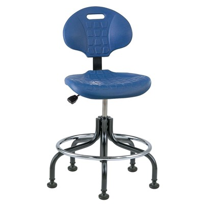 "Bevco 7200-BL - Everlast 7000 Series Ergonomic Chair - Polyurethane - 18""-23"" - Mushroom Glides - Blue"