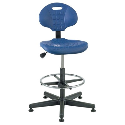 "Bevco 7300-BL - Everlast 7000 Series Ergonomic Chair - Polyurethane - 19""-26.5"" - Mushroom Glides - Blue"