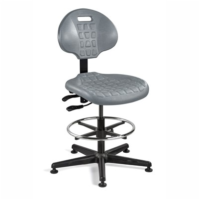 "Bevco 7301-GY - Everlast 7000 Series Ergonomic Chair w/Articulating Tilt Seat & Back - Polyurethane - 19""-26.5"" - Mushroom Glides - Gray"