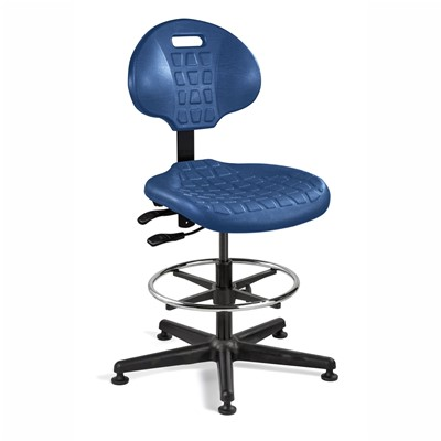 "Bevco 7501-BL - Everlast 7000 Series Ergonomic Chair w/Articulating Tilt Seat & Back - Polyurethane - 21""-31"" - Mushroom Glides - Blue"