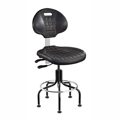 "Bevco 7601-BK - Everlast 7000 Series Ergonomic Chair w/Articulating Tilt Seat & Back - Polyurethane - 23""-28"" - Mushroom Glides - Black"