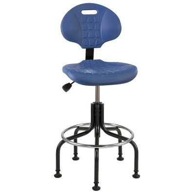 "Bevco 7601-BL - Everlast 7000 Series Ergonomic Chair w/Articulating Tilt Seat & Back - Polyurethane - 23""-28"" - Mushroom Glides - Blue"