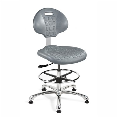 "Bevco 7350-GY - Everlast 7000 Silver Series Ergonomic Chair - Polyurethane - 17.5""-25"" - Mushroom Glides - Gray"