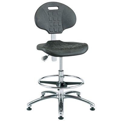 "Bevco 7550-BK - Everlast 7000 Silver Series Ergonomic Chair - Polyurethane - 20.5""-30.5"" - Mushroom Glides - Black"
