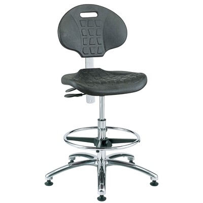 "Bevco 7551-BK - Everlast 7000 Silver Series Ergonomic Chair w/Articulating Tilt Seat & Back - Polyurethane - 20.5""-30.5"" - Mushroom Glides - Black"