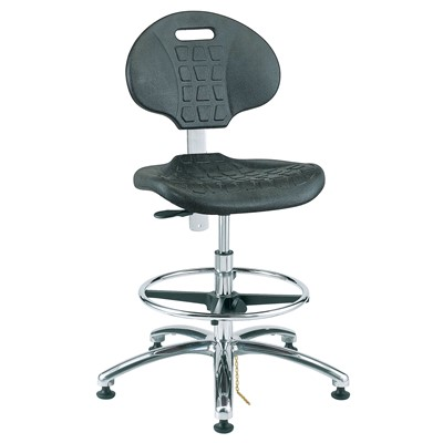 "Bevco 7350E-BK - Everlast-E 7000 Silver Series Ergonomic ESD-Safe Chair - Polyurethane - 17.5""-25"" - ESD Mushroom Glides - Black"