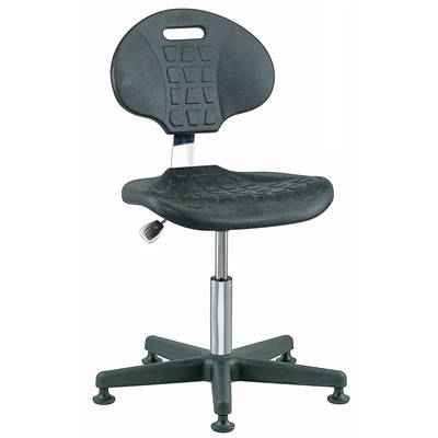 "Bevco 7000C1-BK - Everlast-CR 7000CR Series Ergonomic Clean Room Chair - Polyurethane - 15""-20"" - Mushroom Glides - Black"