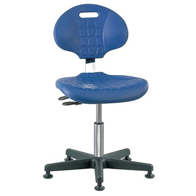 "Bevco 7001C1-BL - Everlast-CR 7000CR Series Ergonomic Clean Room Chair w/Articulating Tilt Seat & Back - Polyurethane - 15""-20"" - Mushroom Glides - Blue"