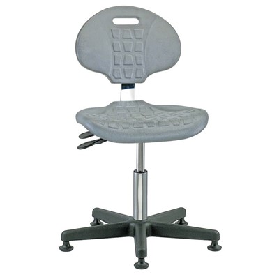 "Bevco 7001C1-GY - Everlast-CR 7000CR Series Ergonomic Clean Room Chair w/Articulating Tilt Seat & Back - Polyurethane - 15""-20"" - Mushroom Glides - Gray"