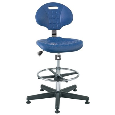 "Bevco 7300C1-BL - Everlast-CR 7000CR Series Ergonomic Clean Room Chair - Polyurethane - 19""-26.5"" - Mushroom Glides - Blue"