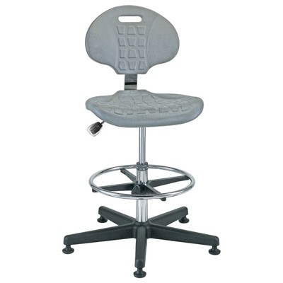 "Bevco 7300C1-GY - Everlast-CR 7000CR Series Ergonomic Clean Room Chair - Polyurethane - 19""-26.5"" - Mushroom Glides - Gray"