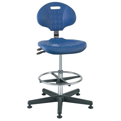 "Bevco 7301C1-BL - Everlast-CR 7000CR Series Ergonomic Clean Room Chair w/Articulating Tilt Seat & Back - Polyurethane - 19""-26.5"" - Mushroom Glides - Blue"