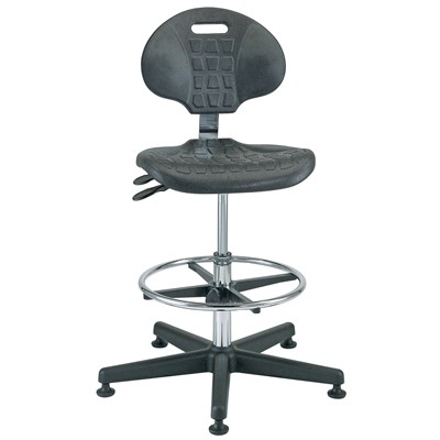 "Bevco 7301C1 - Everlast-CR 7000CR Series Ergonomic Clean Room Chair w/Articulating Tilt Seat & Back - Polyurethane - 19""-26.5"" - Mushroom Glides"