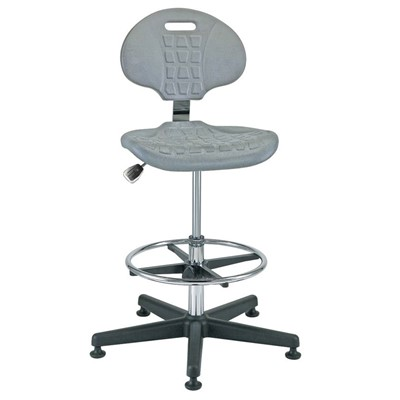 "Bevco 7500C1-GY - Everlast-CR 7000CR Series Ergonomic Clean Room Chair - Polyurethane - 21""-31"" - Mushroom Glides - Gray"