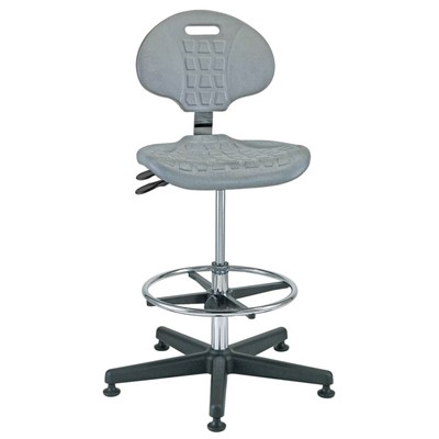 "Bevco 7501C1-GY - Everlast-CR 7000CR Series Ergonomic Clean Room Chair w/Articulating Tilt Seat & Back - Polyurethane - 21""-31"" - Mushroom Glides - Gray"