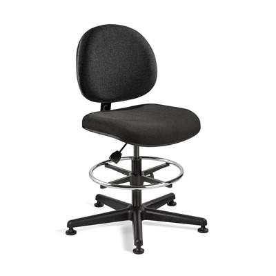 "Bevco V4307MG-BK - LEXINGTON Value-Line V4 Series Ergonomic Pneumatic Chair - Upholstered - 20""-27.5"" - Mushroom Glides - Black"