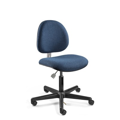 "Bevco V800SHC-NY - LEXINGTON-E Value-Line ESD V8 Series Ergonomic ESD-Safe Pneumatic Chair - Fabric - 17""-22"" - Hard Floor Casters - Navy"