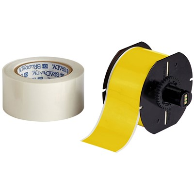"Brady B30C-2250-483YL-KT - B-483 B30 Series ToughStripe Printable Floor Marking Tape Labels - Polyester w/Overlaminate - Yellow - 2.25"" x 100"