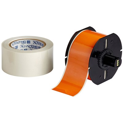 "Brady B30C-4000-483OR-KT - B-483 B30 Series ToughStripe Printable Floor Marking Tape Labels - Polyester w/Overlaminate - Orange - 3.25"" x 100"