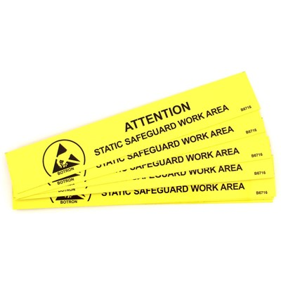 "Botron B6716 - ESD Work Area Bench Sign - 1"" x 6"" - Yellow"