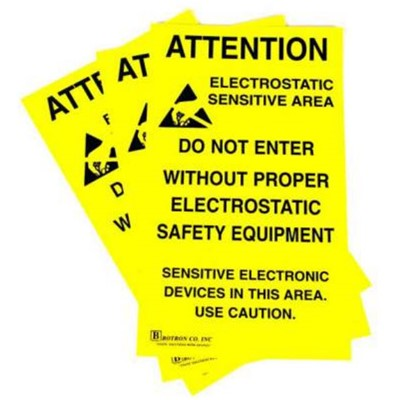 "Botron B6717 - ESD Zone Adhesive Sign - 11"" x 1.4' - Yellow"