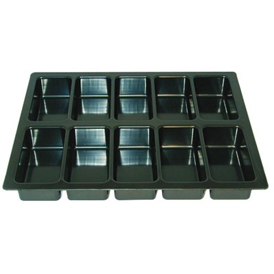"Conductive Containers (CCI) 1230-10 - CP Conductive Kitting Tray - 9.25"" x 7.375"" x 1.125"" - 25/Set"