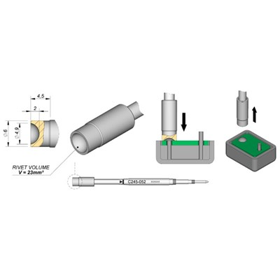 JBC Tools C245-052 - C245 Series Soldering Cartridge for Plastic Rivets - Special - 6 mm x 4.5 mm