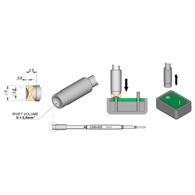 JBC Tools C245-053 - C245 Series Soldering Cartridge for Plastic Rivets - Special - 5 mm x 3.5 mm