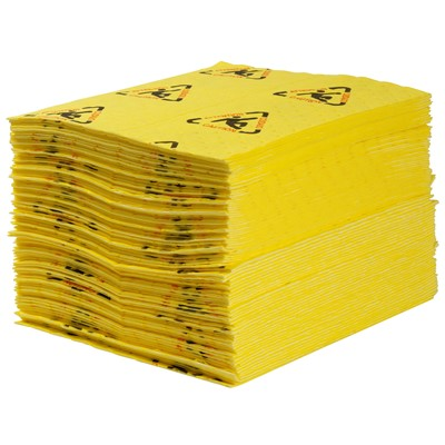 "Brady CH100 - High Visibility Safety Heavy Weight Absorbent Pad - Perforated - 15"" x 19"" - 100/Case"