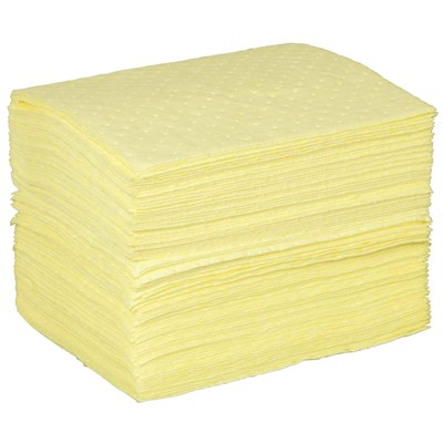 "Brady CH1212 - High Visibility Safety Medium Weight Absorbent Pad w/No Print - Perforated - 12"" x 12"" - 200/Case"