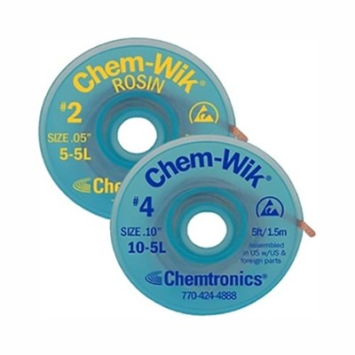 "Chemtronics 5-25L - Chem-Wik Desoldering Braid - 25' - #2 Yellow 0.050""/1.3 mm - 1 Spool/Case"