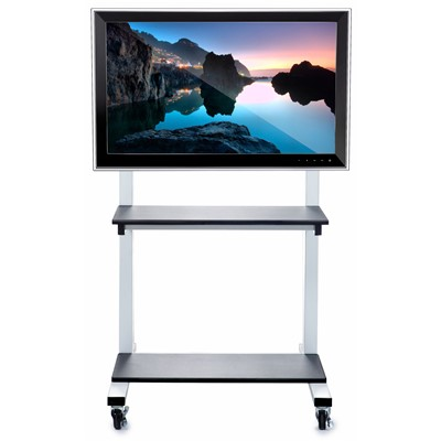 "Luxor/H Wilson CLCD - Mobile Flat Panel Cart - 28"" x 30"" x 50""-66"" - White Frame/ Black Shelves"