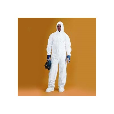 Keystone Safety CVL-KG-B-MD - KeyGuard (Microporous) Coverall/Bunnysuit w/Attached Hood & Boots - Zipper Front - Elastic Wrists - Medium - White - 25/Case