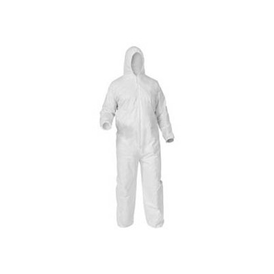 Keystone Safety CVL-KG-HE-LG - KeyGuard (Microporous) Coverall w/Attached Hood - Zipper Front - Elastic Wrists & Ankles - Cleanroom Class 5 - Large - White - 25/Case