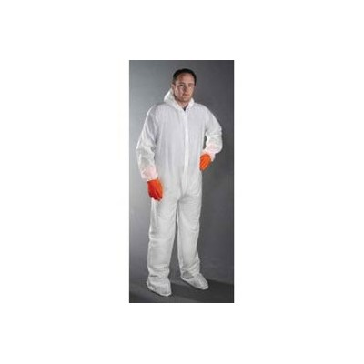 Keystone Safety CVL-NW-B-4XL - Polypropylene Coverall/Bunnysuit W/attached Hood & Boots - Zipper Front - Elastic Wrists - Cleanroom Class 7 - 4X-Large - White - 25/Case