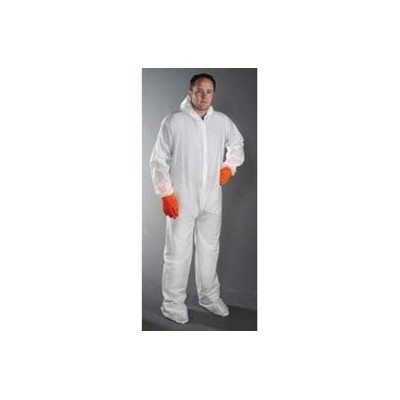 Keystone Safety CVL-NW-B-LG - Polypropylene Coverall/Bunnysuit W/attached Hood & Boots - Zipper Front - Elastic Wrists - Cleanroom Class 7 - Large - White - 25/Case
